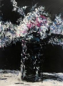 "Dark Still Life, Mixed Media (Oil, Pastel, Charcoal & Graphite), 60"" x 50"", 2017"